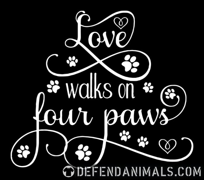 love walks on four paws  - Dogs Lovers Organic T-shirt