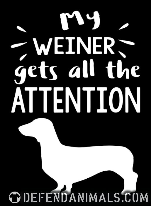 My weiner gets all the attention  - Dog Breeds Women Organic T-shirt