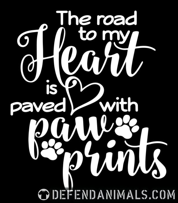 the road to my heart is paved with paw prints  - Cats Lovers Women Organic T-shirt