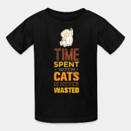 Kid tshirt Time spent with cats is never wasted