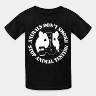 Children t-shirt Animal don't smoke stop animal testing