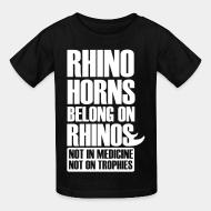 Children t-shirt Rhino horn belong on rhinos not in medcine not on trophies