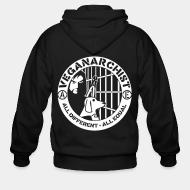 Zip hoodie Vegan anarchist all different all equal
