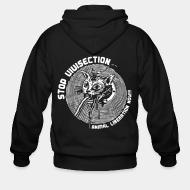 Zip hoodie stop vivisection animal liberation now!