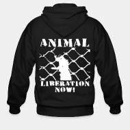 Zip hoodie Animal liberation now !