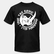 American Apparel t-shirt save the rino stop poaching!
