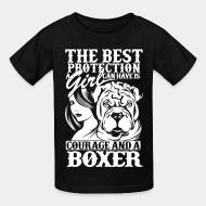 Kid tshirt The best protection a girl can have is courage and a pitbull