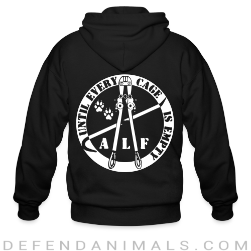 ALF until every cage is empty - Animal Rights Activism Zip hoodie