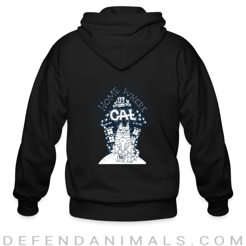 Home is where my cat is  - Cats Lovers Zip hoodie