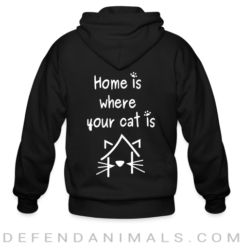 home is where your cat is  - Cats Lovers Zip hoodie