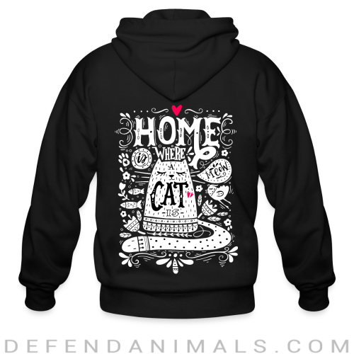 home where cat is  - Cats Lovers Zip hoodie