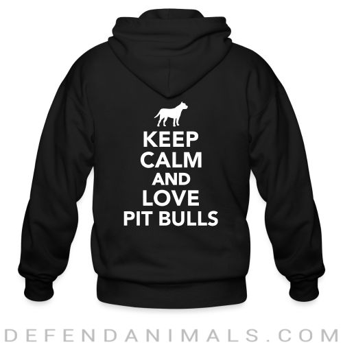 keep calm and love pit bull - Dog Breeds Zip hoodie