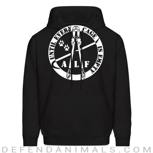 ALF until every cage is empty - Animal Rights Activism Hooded sweatshirt