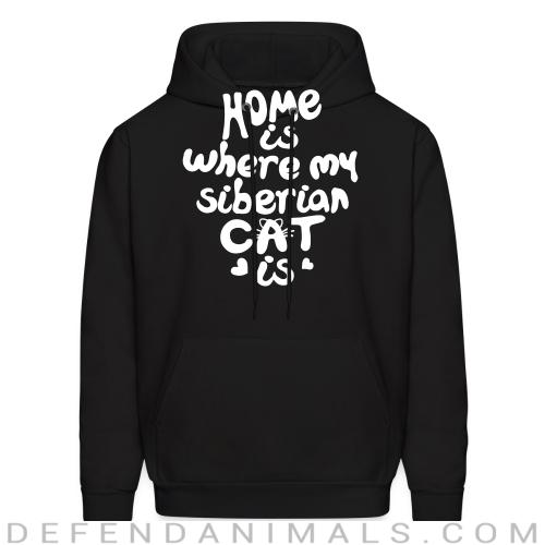 Home is where my siberian cat is - Cat Breeds Hooded sweatshirt