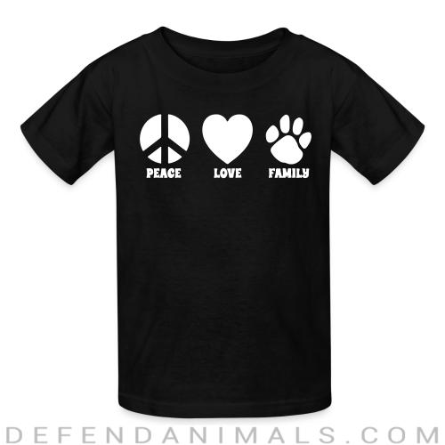 PEACE LOVE FAMILY  - Dogs Lovers Kids t-shirt