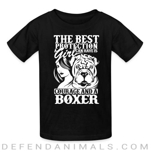 The best protection a girl can have is courage and a pitbull - Dog Breeds Kids t-shirt