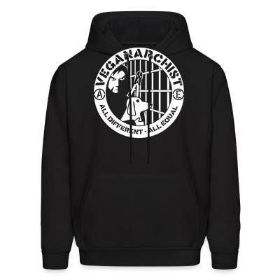 Hoodie Veganarchist - all different, all equal