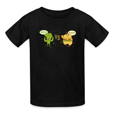Kid tshirt broccoli vs hamburger