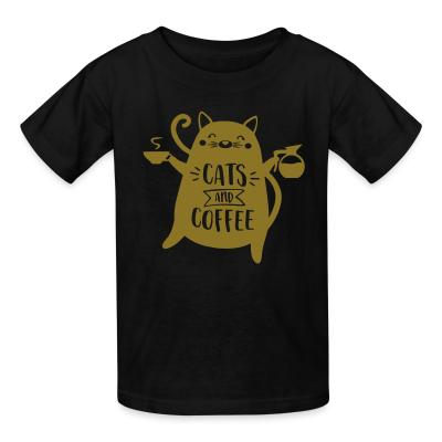 Kid tshirt cats and  coffee