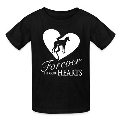 Kid tshirt forever in your hearts greyhound