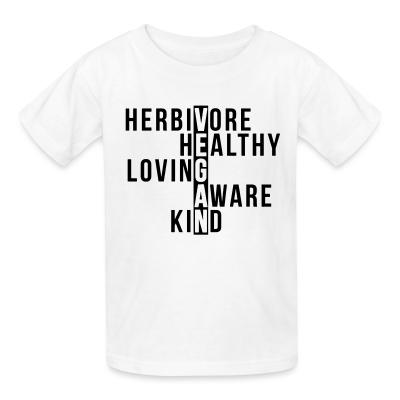 Kid tshirt Herbivore healthy loving aware kind vegan