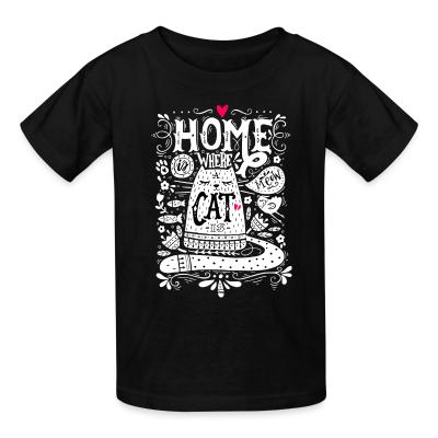 Kid tshirt home where cat is