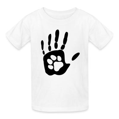 Kid tshirt Human hand & animal paw