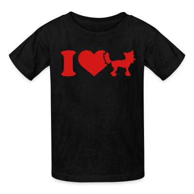 Kid tshirt I love Chinese Crested