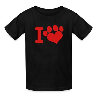 Kid tshirt I love paw dog