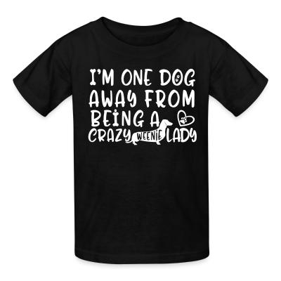 Kid tshirt I'm one dog away from being  a crazy weenie lady