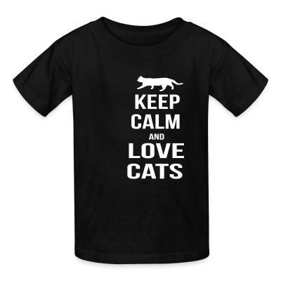 Kid tshirt keep calm and love cats