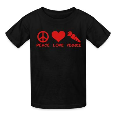 Kid tshirt Peace love veggie