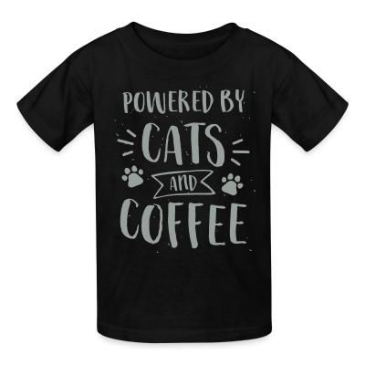 Kid tshirt powered by cats and coffee