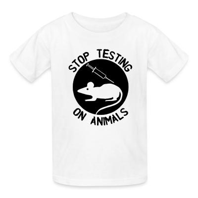 Kid tshirt Stop testing on animals
