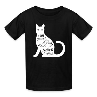 Kid tshirt Time spent with cats is nerver wasted