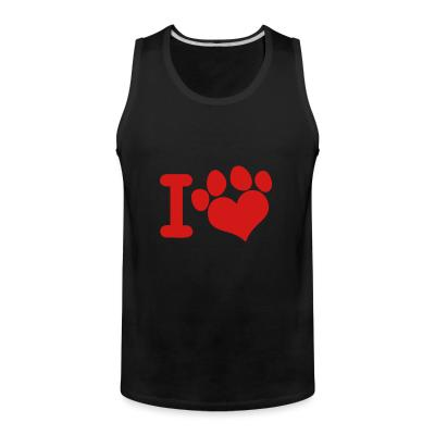 Tank top I love paw dog