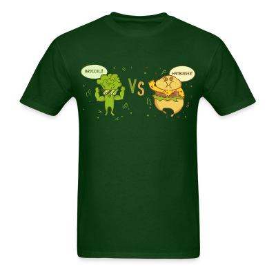 T-shirt broccoli vs hamburger