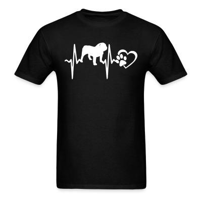 T-shirt Bulldog heartbeat