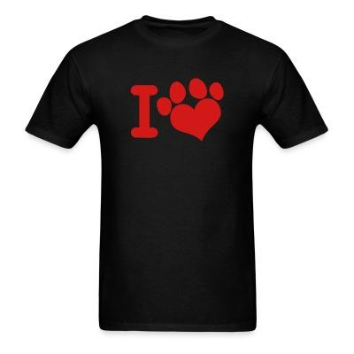 T-shirt I love paw dog