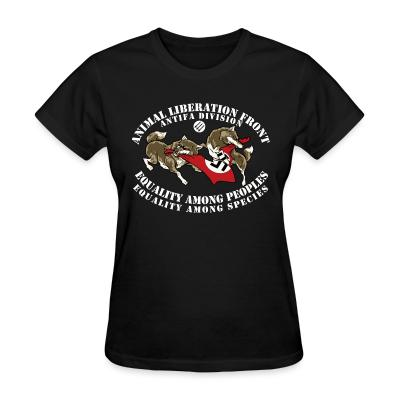 Women T-shirt Animal Liberation Front antifa division - equality among peoples, equality among species
