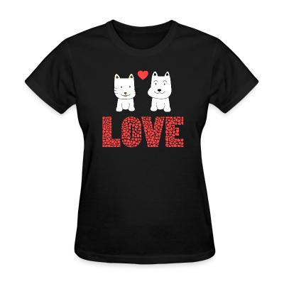 Women T-shirt Cat and Dog