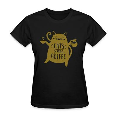 Women T-shirt cats and  coffee