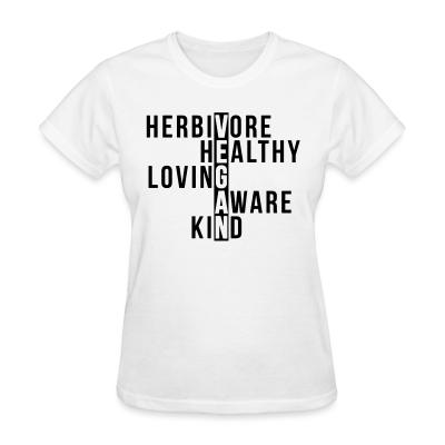 Women T-shirt Herbivore healthy loving aware kind vegan