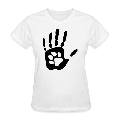 Women T-shirt Human hand & animal paw