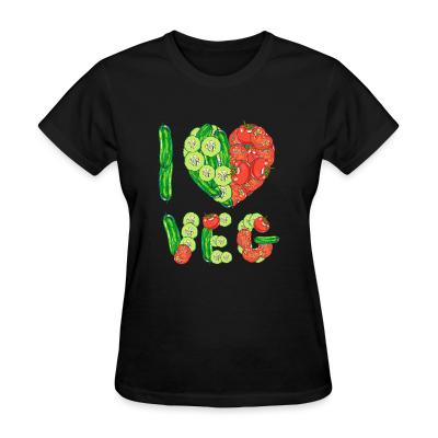 Women T-shirt I love veg