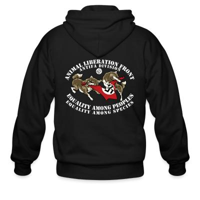 Zip hoodie Animal Liberation Front antifa division - equality among peoples, equality among species