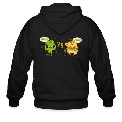 Zip hoodie broccoli vs hamburger