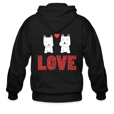Zip hoodie Cat and Dog