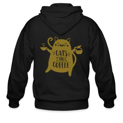 Zip hoodie cats and  coffee