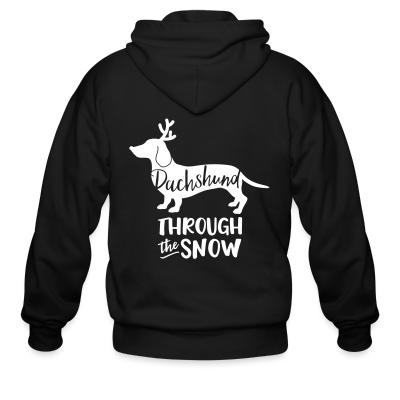 Zip hoodie Dachshund troung the snow